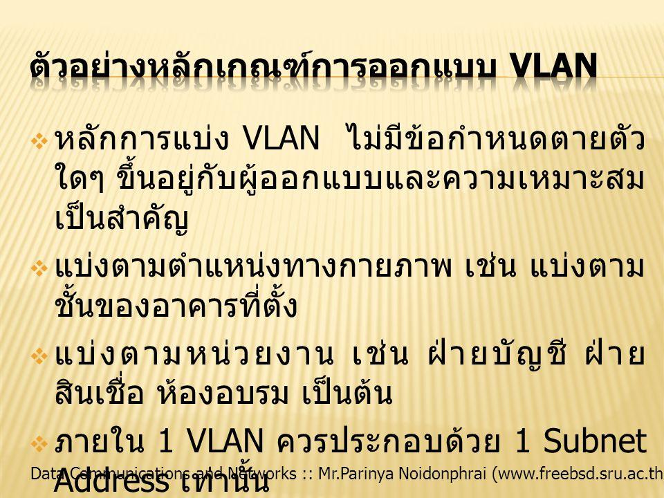 Data Communications and Networks :: Mr.Parinya Noidonphrai (www.freebsd.sru.ac.th)  หลักการแบ่ง VLAN ไม่มีข้อกำหนดตายตัว ใดๆ ขึ้นอยู่กับผู้ออกแบบและค