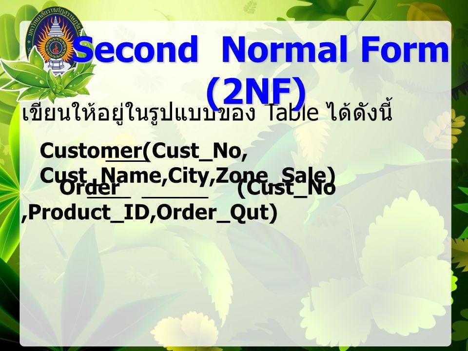 Customer(Cust_No, Cust_Name,City,Zone_Sale) Order (Cust_No,Product_ID,Order_Qut) เขียนให้อยู่ในรูปแบบของ Table ได้ดังนี้ Second Normal Form (2NF) Second Normal Form (2NF)