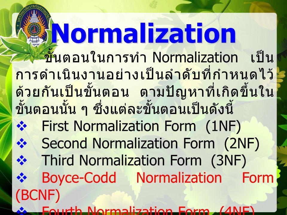 ขั้นตอนในการทำ Normalization เป็น การดำเนินงานอย่างเป็นลำดับที่กำหนดไว้ ด้วยกันเป็นขั้นตอน ตามปัญหาที่เกิดขึ้นใน ขั้นตอนนั้น ๆ ซึ่งแต่ละขั้นตอนเป็นดังนี้  First Normalization Form (1NF)  Second Normalization Form (2NF)  Third Normalization Form (3NF)  Boyce-Codd Normalization Form (BCNF)  Fourth Normalization Form (4NF)  Fifth Normalization Form (5NF) Normalization