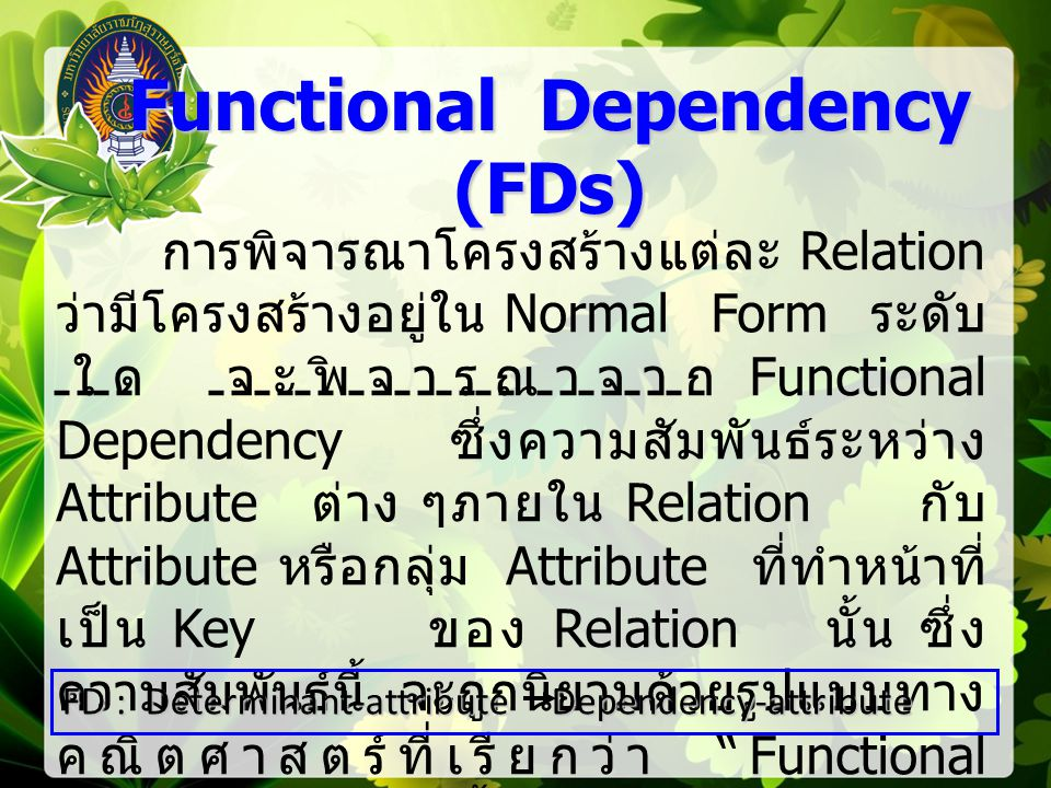 First Normal Form (1NF) First Normal Form (1NF) ขั้นตอนนี้เป็นขั้นตอนสำหรับปรับโครงสร้าง ของ Relation เพื่อให้ทุก Attribute ของ Relation มี คุณสมบัติ Atomicity กล่าวคือ โครงสร้างข้อมูลของ Relation ในแบบ 1NF ต้องประกอบด้วย Table ที่อยู่ในรูป 1NF 1.