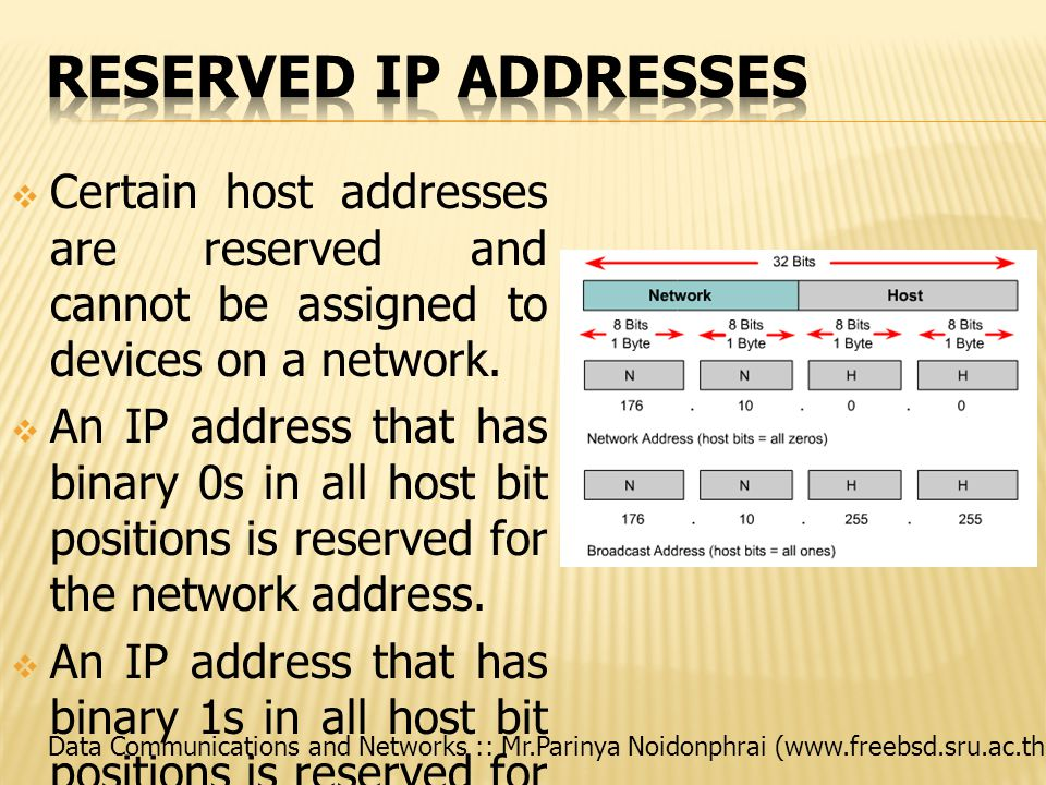 Data Communications and Networks :: Mr.Parinya Noidonphrai (www.freebsd.sru.ac.th)  Certain host addresses are reserved and cannot be assigned to devices on a network.