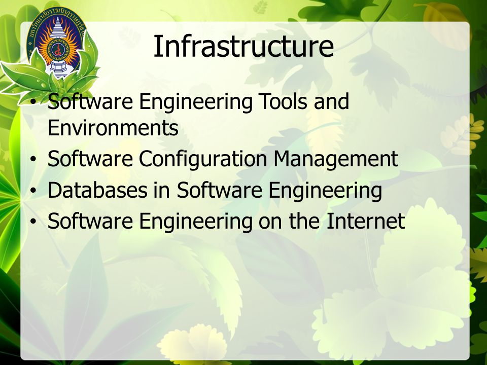 Infrastructure Software Engineering Tools and Environments Software Configuration Management Databases in Software Engineering Software Engineering on