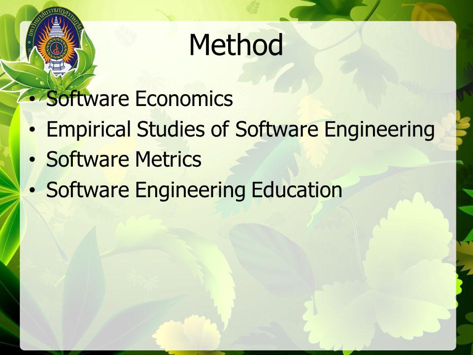 Method Software Economics Empirical Studies of Software Engineering Software Metrics Software Engineering Education