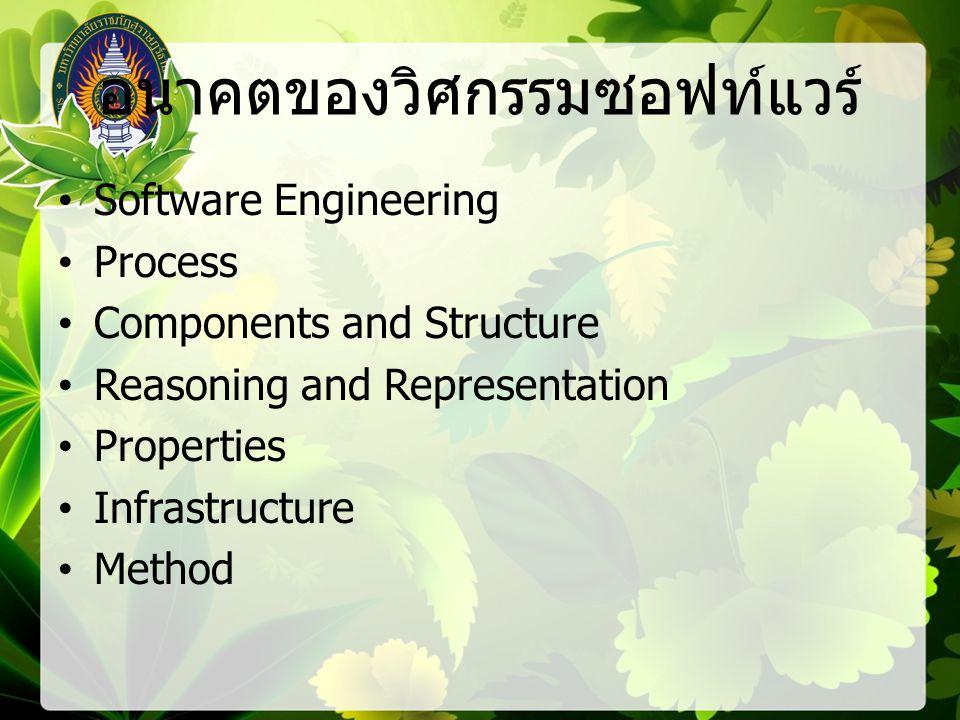 อนาคตของวิศกรรมซอฟท์แวร์ Software Engineering Process Components and Structure Reasoning and Representation Properties Infrastructure Method
