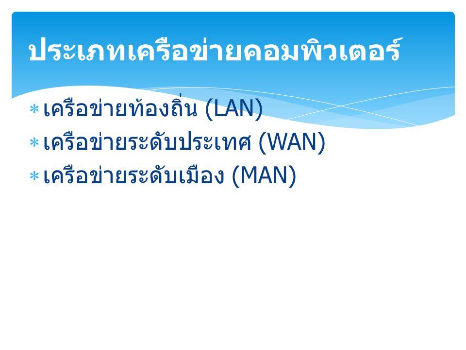  เครือข่ายท้องถิ่น (LAN)  เครือข่ายระดับประเทศ (WAN)  เครือข่ายระดับเมือง (MAN) ประเภทเครือข่ายคอมพิวเตอร์