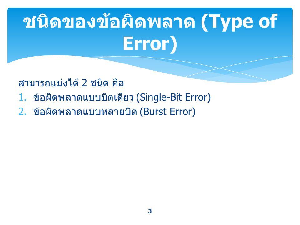สามารถแบ่งได้ 2 ชนิด คือ 1. ข้อผิดพลาดแบบบิตเดียว (Single-Bit Error) 2. ข้อผิดพลาดแบบหลายบิต (Burst Error) 3 ชนิดของข้อผิดพลาด (Type of Error)