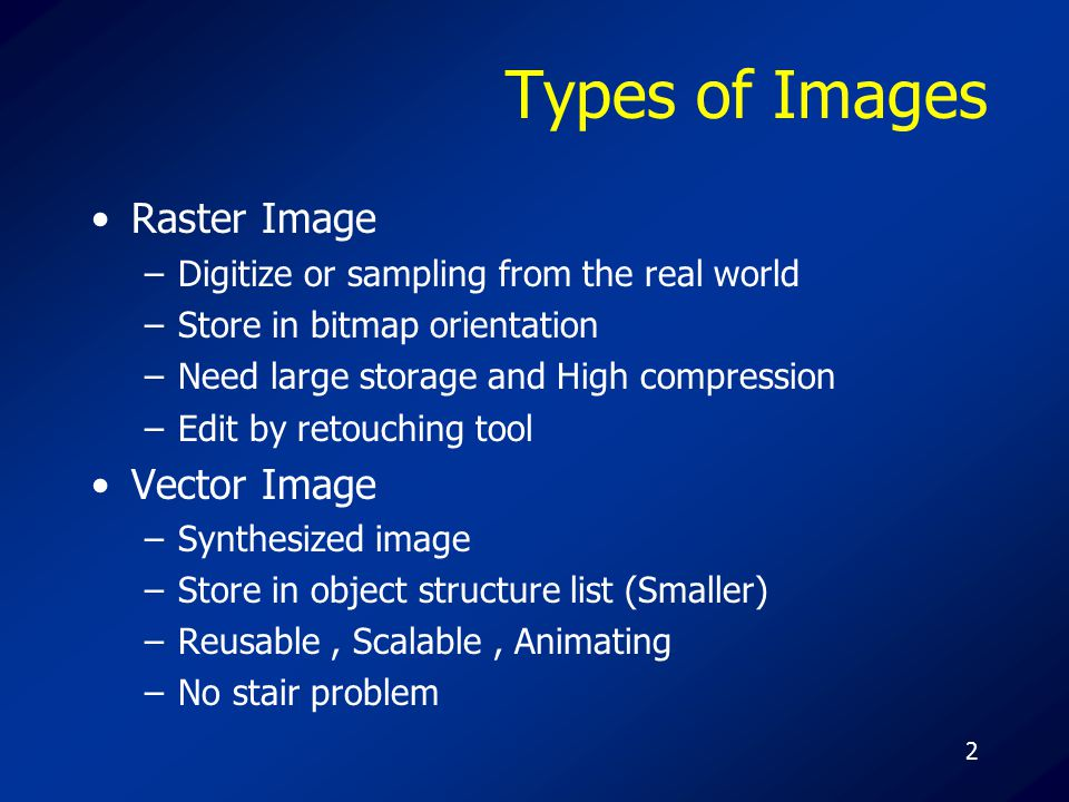 2 Types of Images Raster Image –Digitize or sampling from the real world –Store in bitmap orientation –Need large storage and High compression –Edit by retouching tool Vector Image –Synthesized image –Store in object structure list (Smaller) –Reusable, Scalable, Animating –No stair problem