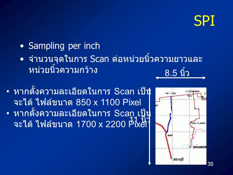 30 SPI Sampling per inch จำนวนจุดในการ Scan ต่อหน่วยนิ้วความยาวและ หน่วยนิ้วความกว้าง 8.5 นิ้ว 11 นิ้ว หากตั้งความละเอียดในการ Scan เป็น 100 SPI จะได้ ไฟล์ขนาด 850 x 1100 Pixel หากตั้งความละเอียดในการ Scan เป็น 200 SPI จะได้ ไฟล์ขนาด 1700 x 2200 Pixel