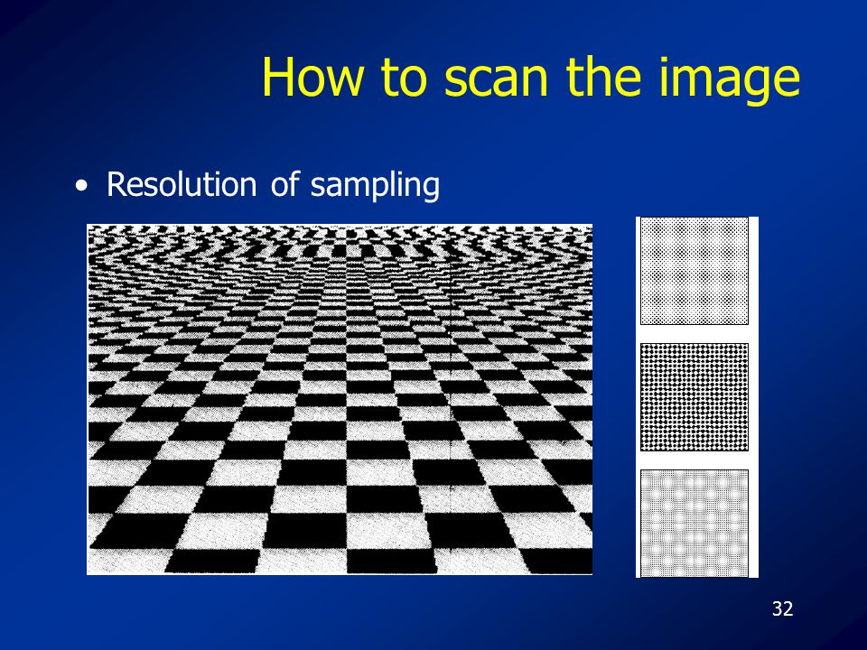 32 How to scan the image Resolution of sampling