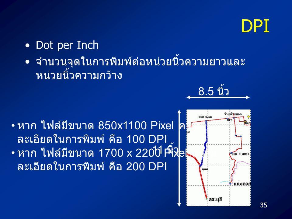 35 DPI Dot per Inch จำนวนจุดในการพิมพ์ต่อหน่วยนิ้วความยาวและ หน่วยนิ้วความกว้าง 8.5 นิ้ว 11 นิ้ว หาก ไฟล์มีขนาด 850x1100 Pixel ความ ละเอียดในการพิมพ์ คือ 100 DPI หาก ไฟล์มีขนาด 1700 x 2200 Pixel ความ ละเอียดในการพิมพ์ คือ 200 DPI