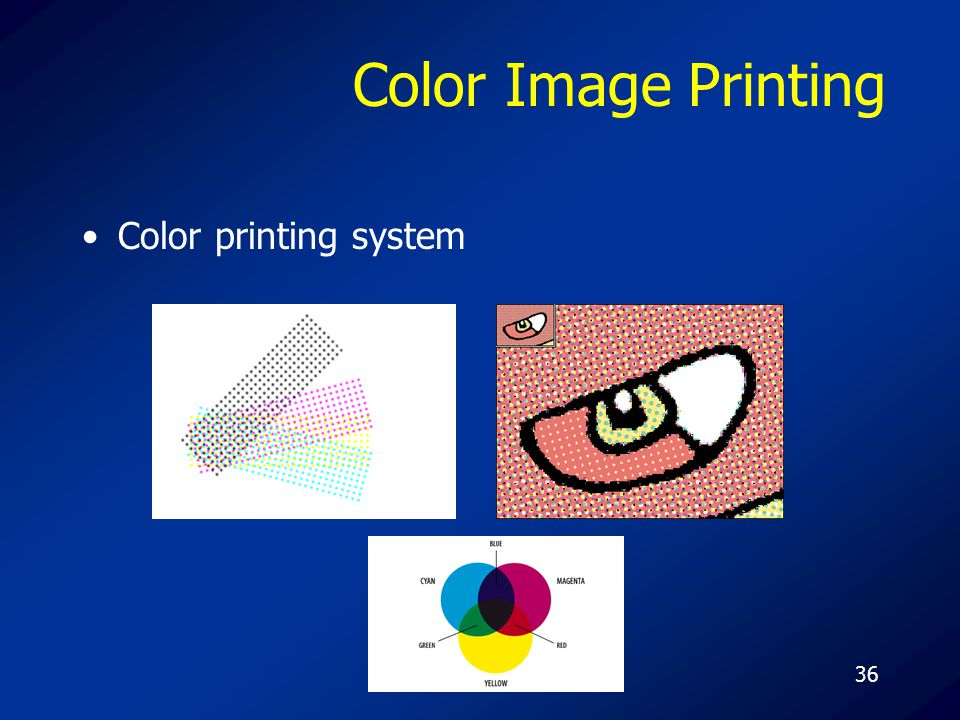 36 Color Image Printing Color printing system