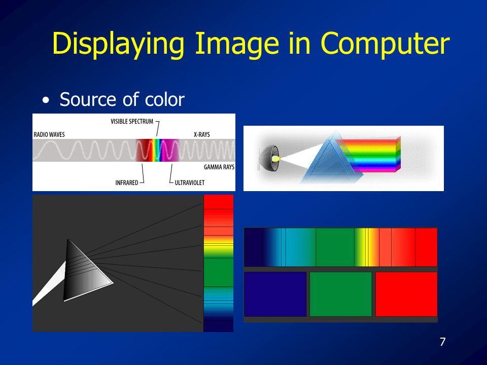 18 Type of color display system Index color system –VGA 256 Color 640*480 = 307200 Pixels = 307200 Bytes Index table 256*3 (24 bits) 768 Bytes Total 307200 + 768 = 307968 Bytes –SVGA 256 Color 800*600 = 480000 Pixels = 480000 Bytes Index table 256*3 (24 bits) 768 Bytes Total 480000 + 768 = 480768 Bytes –SVGA 256 Color 1024*768 = 786432 Pixels = 786432 Bytes Index table 256*3 (24 bits) 768 Bytes Total 786432 + 768 = 787200 Bytes