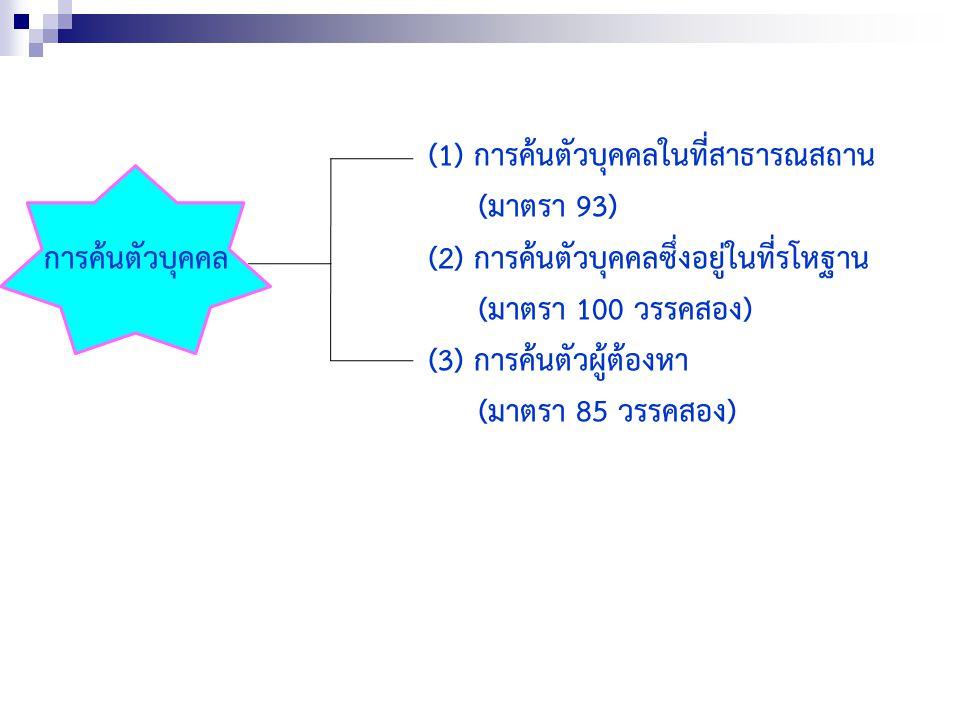 (1) การค้นตัวบุคคลในที่สาธารณสถาน (มาตรา 93) การค้นตัวบุคคล(2) การค้นตัวบุคคลซึ่งอยู่ในที่รโหฐาน (มาตรา 100 วรรคสอง) (3) การค้นตัวผู้ต้องหา (มาตรา 85 วรรคสอง)