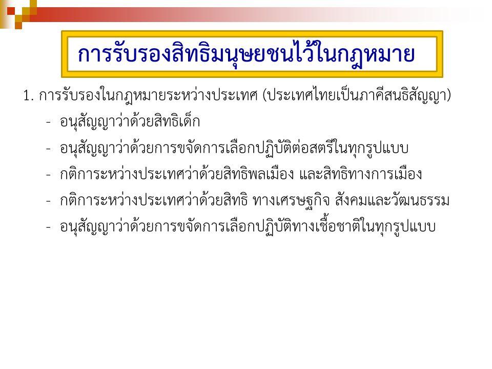 1. การรับรองในกฎหมายระหว่างประเทศ (ประเทศไทยเป็นภาคีสนธิสัญญา) - อนุสัญญาว่าด้วยสิทธิเด็ก - อนุสัญญาว่าด้วยการขจัดการเลือกปฏิบัติต่อสตรีในทุกรูปแบบ -