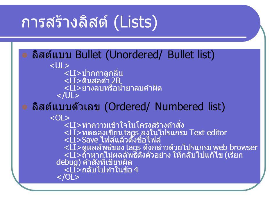 การสร้างลิสต์ (Lists) ลิสต์แบบ Bullet (Unordered/ Bullet list) ปากกาลูกลื่น ดินสอดำ 2B ยางลบหรือน้ำยาลบคำผิด ลิสต์แบบตัวเลข (Ordered/ Numbered list) ท