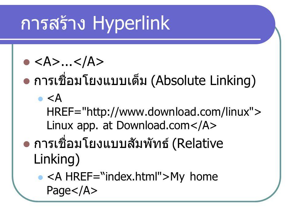 การสร้าง Hyperlink... การเชื่อมโยงแบบเต็ม (Absolute Linking) Linux app. at Download.com การเชื่อมโยงแบบสัมพัทธ์ (Relative Linking) My home Page