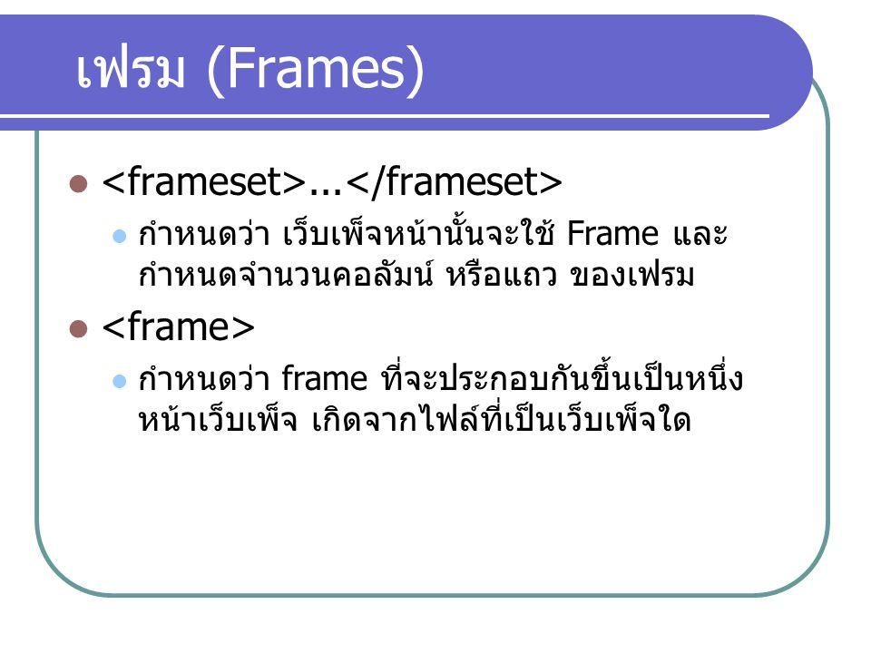 เฟรม (Frames)... กำหนดว่า เว็บเพ็จหน้านั้นจะใช้ Frame และ กำหนดจำนวนคอลัมน์ หรือแถว ของเฟรม กำหนดว่า frame ที่จะประกอบกันขึ้นเป็นหนึ่ง หน้าเว็บเพ็จ เก