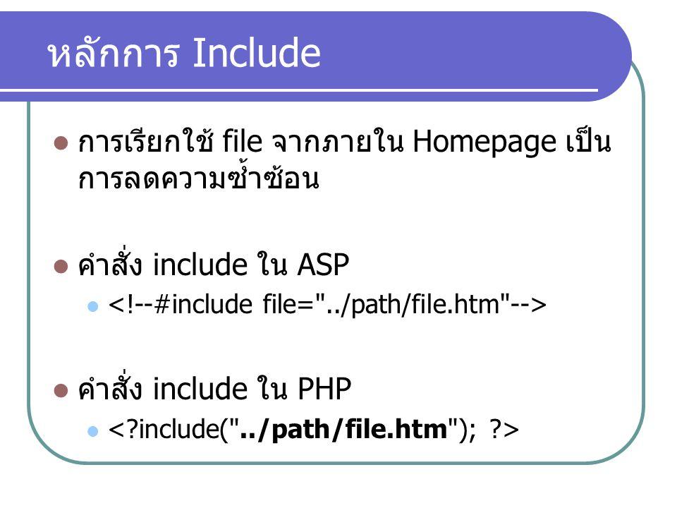 หลักการ Include การเรียกใช้ file จากภายใน Homepage เป็น การลดความซ้ำซ้อน คำสั่ง include ใน ASP คำสั่ง include ใน PHP