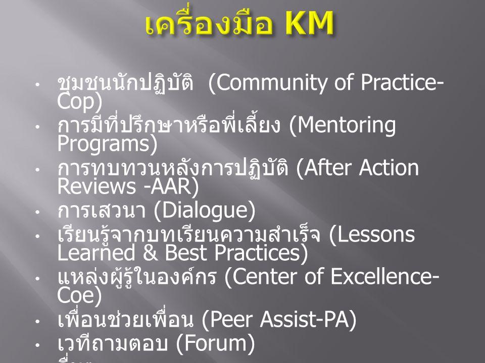 ชุมชนนักปฏิบัติ (Community of Practice- Cop) การมีที่ปรึกษาหรือพี่เลี้ยง (Mentoring Programs) การทบทวนหลังการปฏิบัติ (After Action Reviews -AAR) การเส