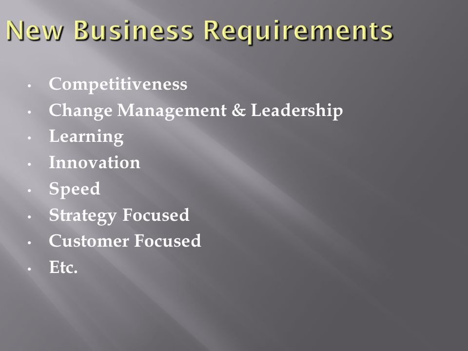 Competitiveness Change Management & Leadership Learning Innovation Speed Strategy Focused Customer Focused Etc.