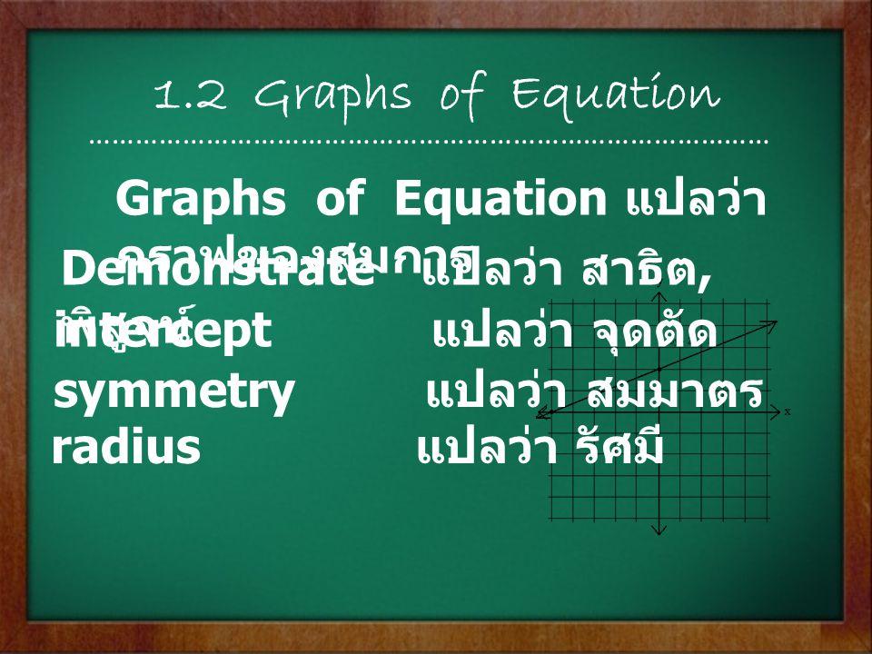 1.2 Graphs of Equation …………………………………………………………………………… Graphs of Equation แปลว่า กราฟของสมการ Demonstrate แปลว่า สาธิต, พิสูจน์ intercept แปลว่า จุดตัด