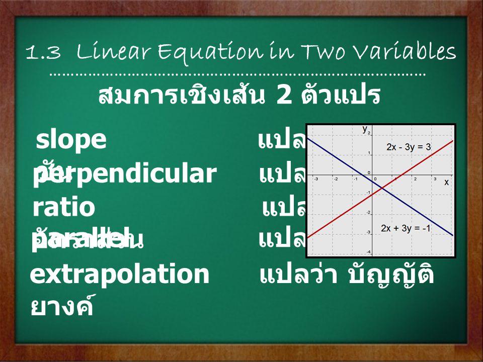 1.4 Functions …………………………………………………………………………… domain แปลว่า ขอบเขต relation แปลว่า ความสัมพันธ์ dependent variable แปลว่า ตัวแปรตาม independent variable แปลว่า ตัวแปรอิสระ ฟังก์ชัน พิสัย คือ ค่าความแตกต่างระหว่าง คะแนนสูงสุดกับคะแนนต่ำสุดใน ข้อมูลชุดหนึ่งๆ range แปลว่า พิสัย พิสัย = ค่าสูงสุด – ค่าต่ำสุด