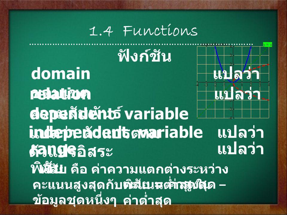 1.5 Analyzing Graphs of Functions …………………………………………………………………………… constant แปลว่า ค่าคงตัว secant line แปลว่า เส้นตัด average แปลว่า ค่าเฉลี่ย minimum แปลว่า ค่าต่ำสุด maximum แปลว่า ค่าสูงสุด การวิเคราะห์กราฟของฟังก์ชั่น