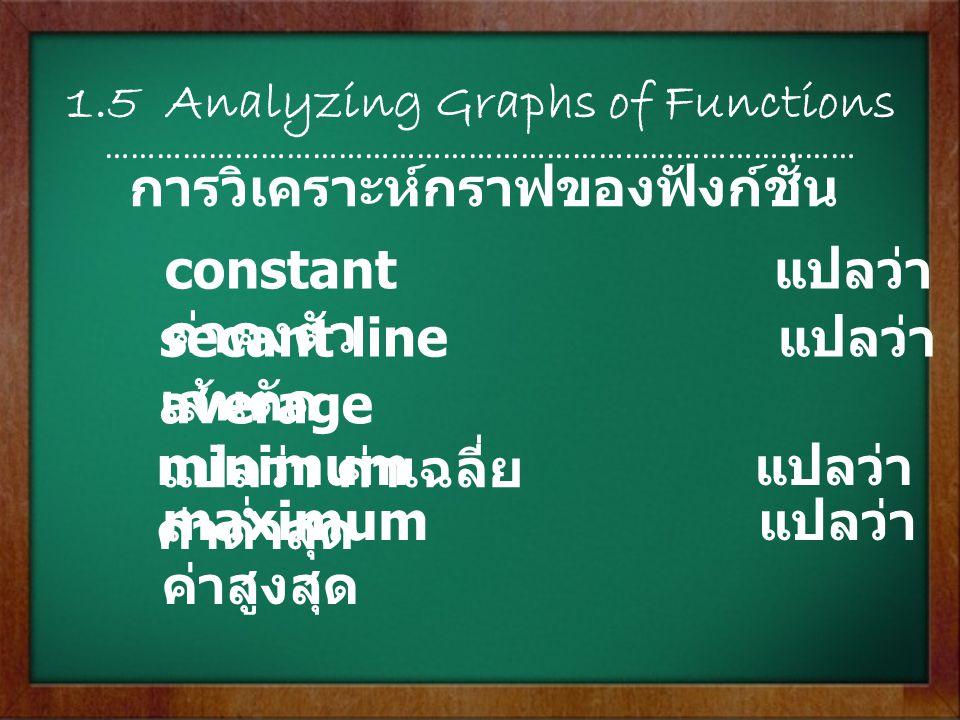 1.5 Analyzing Graphs of Functions …………………………………………………………………………… constant แปลว่า ค่าคงตัว secant line แปลว่า เส้นตัด average แปลว่า ค่าเฉลี่ย minimum แ