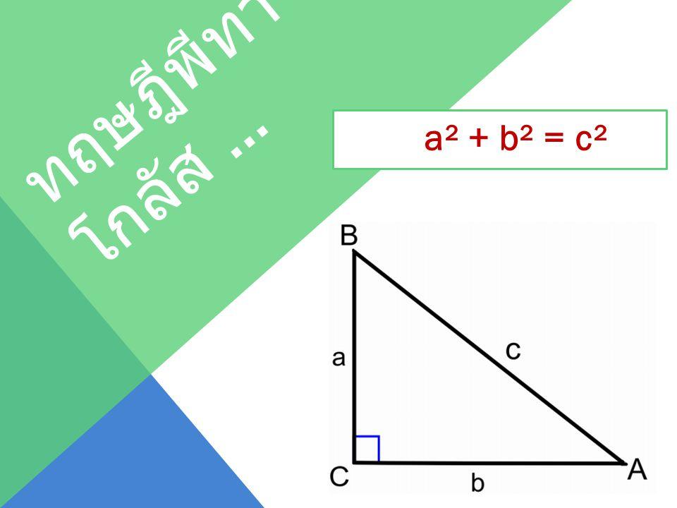 ทฤษฎีพีทา โกลัส … a² + b² = c²