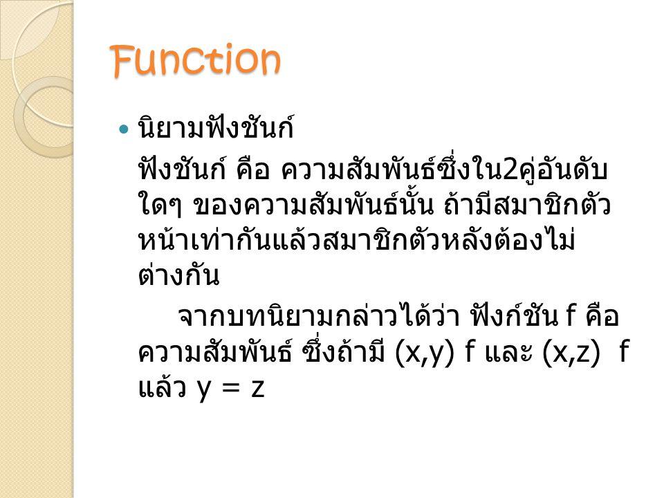 Function นิยามฟังชันก์ ฟังชันก์ คือ ความสัมพันธ์ซึ่งใน 2 คู่อันดับ ใดๆ ของความสัมพันธ์นั้น ถ้ามีสมาชิกตัว หน้าเท่ากันแล้วสมาชิกตัวหลังต้องไม่ ต่างกัน