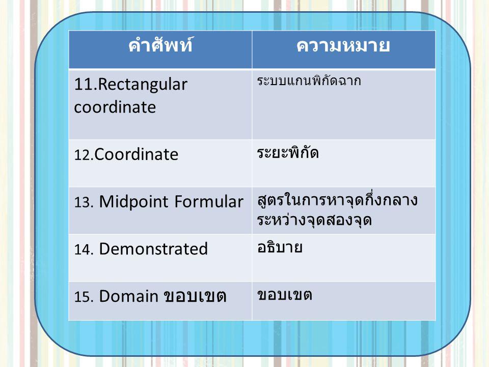 คำศัพท์ความหมาย 11.Rectangular coordinate ระบบแกนพิกัดฉาก 12. Coordinate ระยะพิกัด 13. Midpoint Formular สูตรในการหาจุดกึ่งกลาง ระหว่างจุดสองจุด 14. D