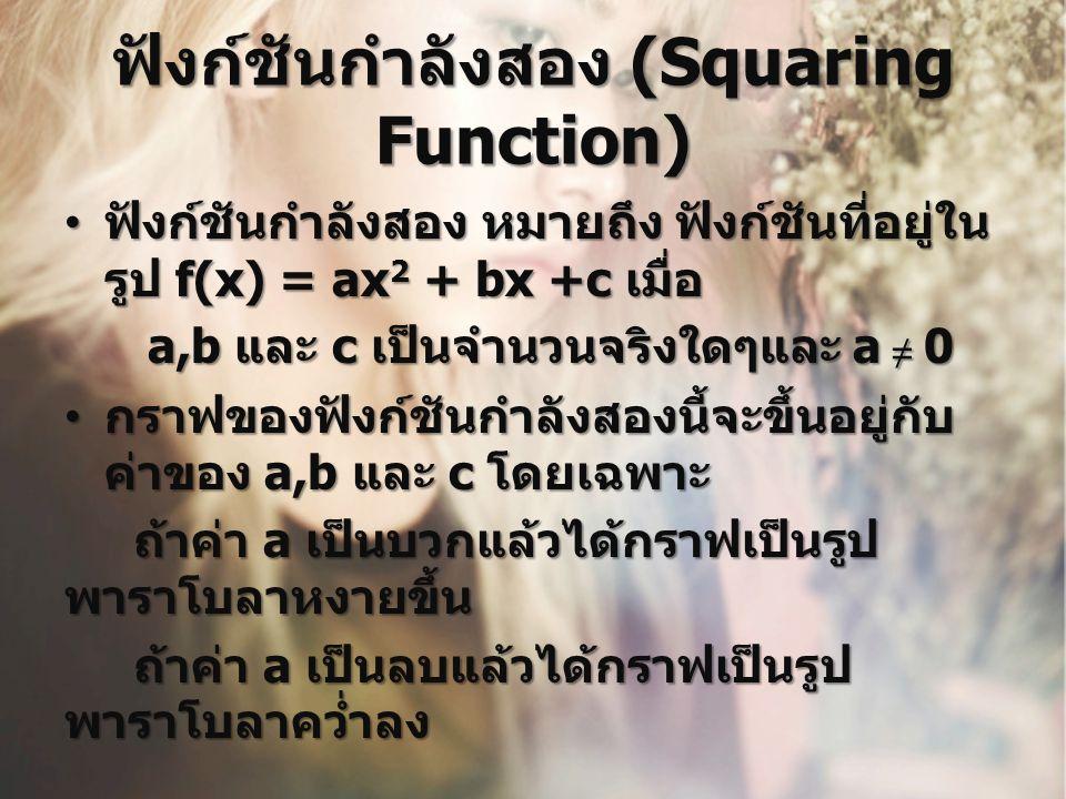 ฟังก์ชันกำลังสอง (Squaring Function) ฟังก์ชันกำลังสอง หมายถึง ฟังก์ชันที่อยู่ใน รูป f(x) = ax 2 + bx +c เมื่อ ฟังก์ชันกำลังสอง หมายถึง ฟังก์ชันที่อยู่