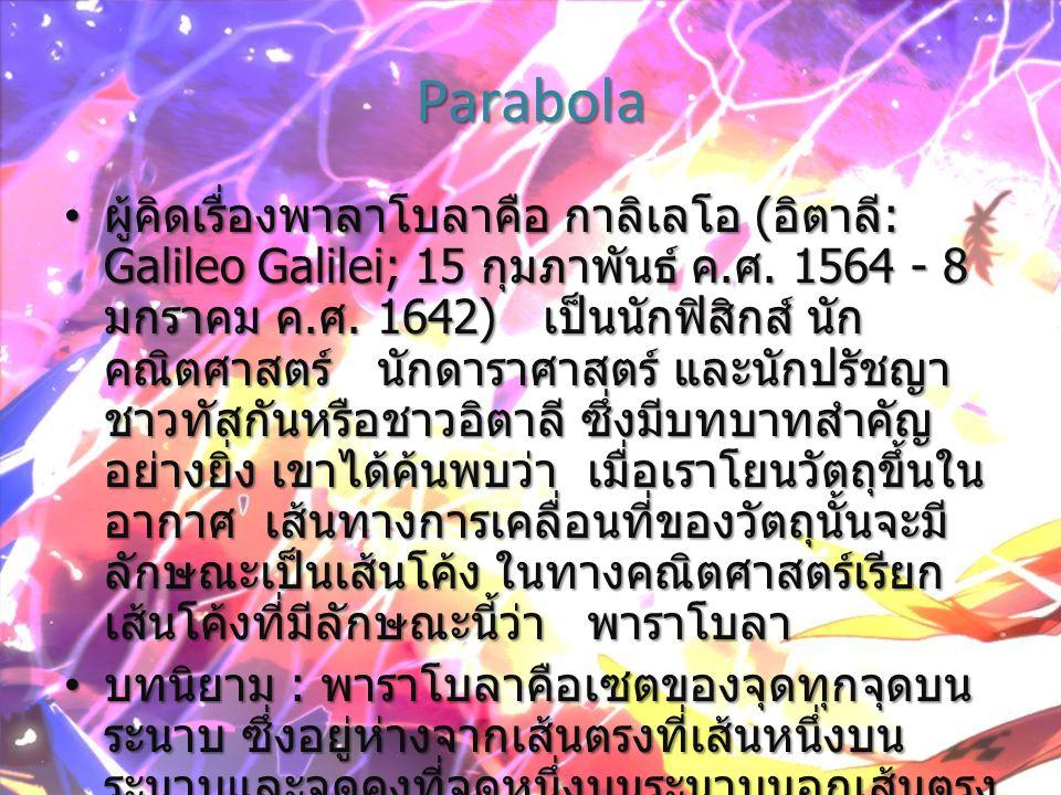 ส่วนประกอบของพาราโบลา เส้นคงที่ เรียกว่า ไดเรกตริกซ์ของ พาราโบลา จุดคงที่ (F) เรียกว่า โฟกัสของพาราโบลา แกนของพาราโบลา คือเส้นตรงที่ลากผ่าน โฟกัส และตั้งฉากกับไดเรกตริกซ์ จุดยอด (V) คือจุดยอดที่พาราโบลาตัดกับ แกนของพาราโบลา เลตัสเรกตัม (AB) คือส่วนของเส้น ตรงที่ ผ่านโฟกัส และ มีจุดปลายทั้ง สองอยู่บน พาราโบลา และตั้งฉากกับ แกนของ พาราโบลา เส้นตรงที่ผ่านจุดโฟกัส และตั้งฉากกับ ไดเรกตริกซ์ เรียกว่า แกนของพาราโบลา