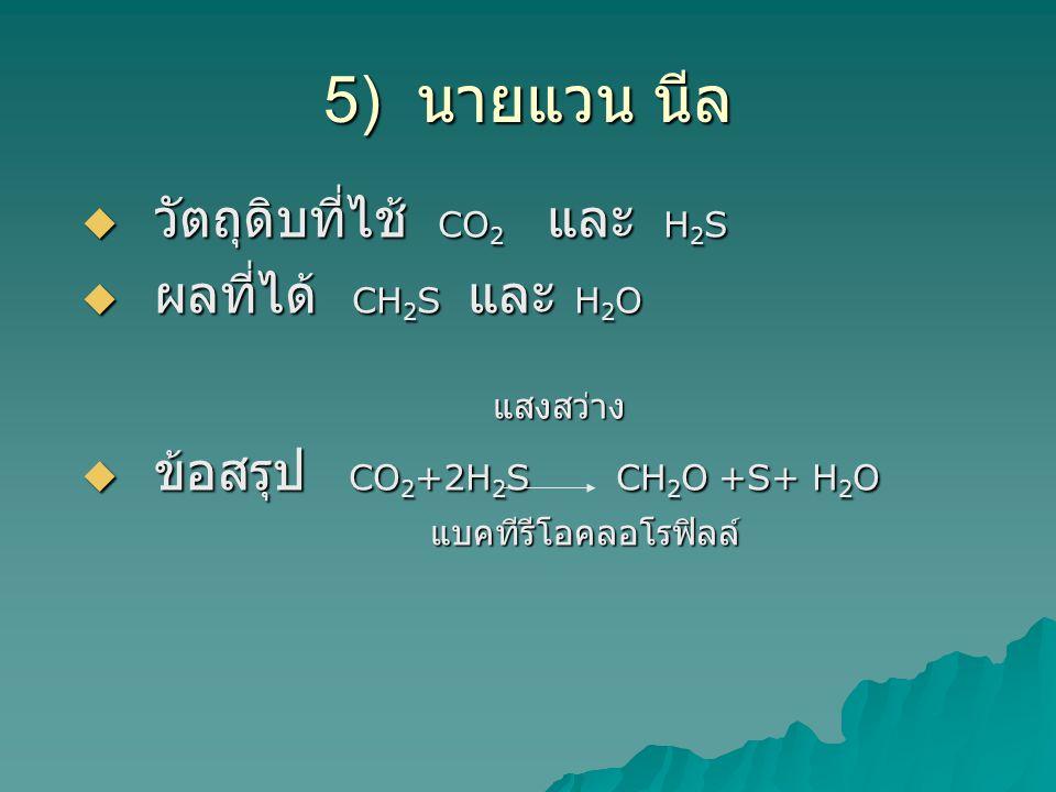 5) นายแวน นีล  วัตถุดิบที่ไช้ CO 2 และ H 2 S  ผลที่ได้ CH 2 S และ H 2 O แสงสว่าง แสงสว่าง  ข้อสรุป CO 2 +2H 2 S CH 2 O +S+ H 2 O แบคทีรีโอคลอโรฟิลล