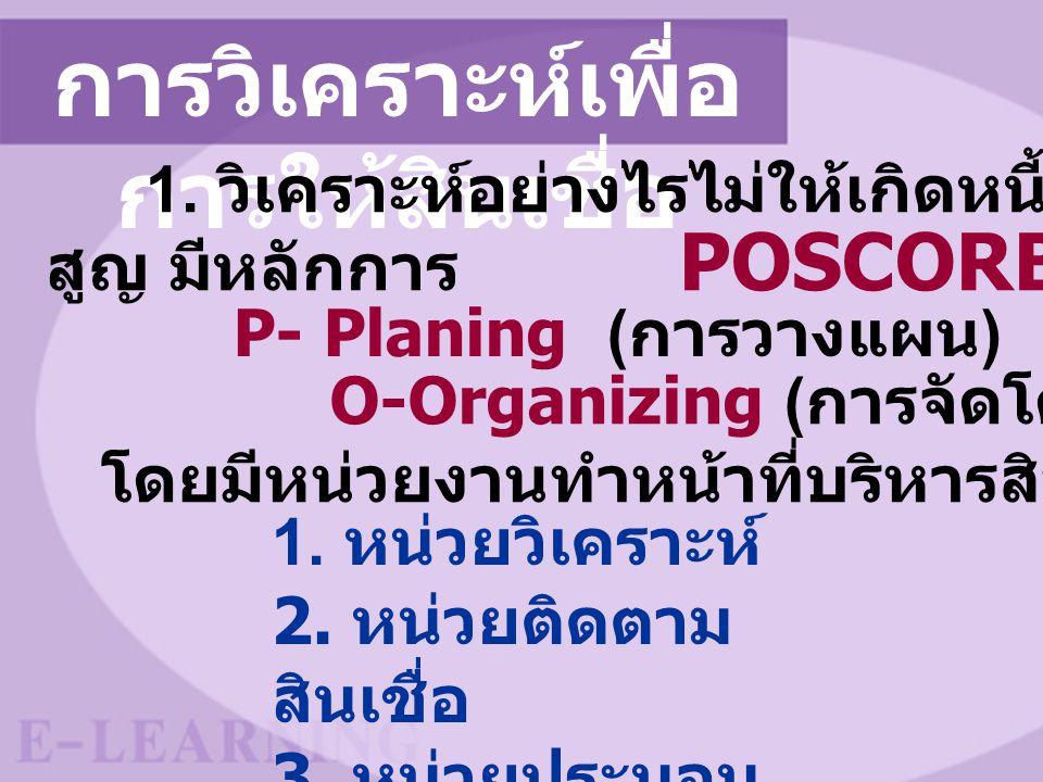 การวิเคราะห์เพื่อ การให้สินเชื่อ 1. วิเคราะห์อย่างไรไม่ให้เกิดหนี้ สูญ มีหลักการ POSCORB P- Planing ( การวางแผน ) O-Organizing ( การจัดโครงสร้าง ) โดย
