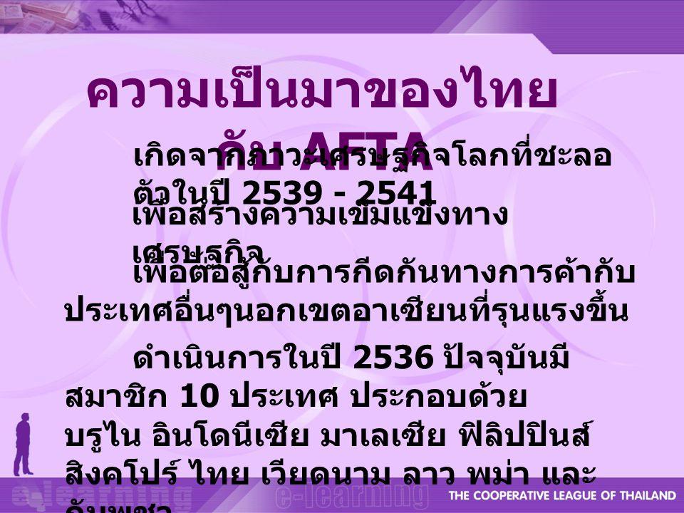 ความเป็นมาของไทย กับ AFTA เกิดจากภาวะเศรษฐกิจโลกที่ชะลอ ตัวในปี 2539 - 2541 เพื่อสร้างความเข็มแข็งทาง เศรษฐกิจ เพื่อต่อสู้กับการกีดกันทางการค้ากับ ประ