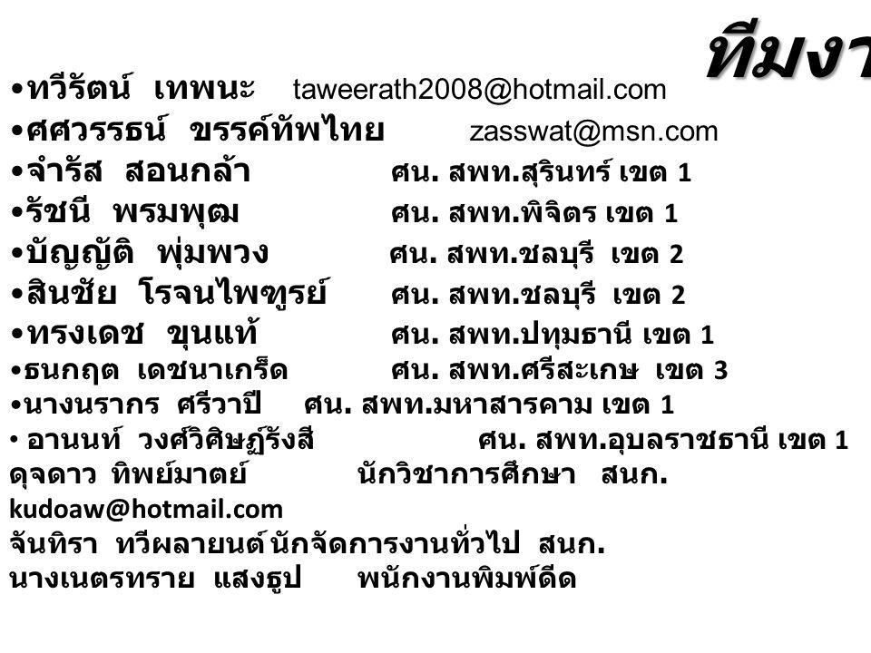 ทวีรัตน์ เทพนะ taweerath2008@hotmail.com ศศวรรธน์ ขรรค์ทัพไทย zasswat@msn.com จำรัส สอนกล้า ศน. สพท. สุรินทร์ เขต 1 รัชนี พรมพุฒ ศน. สพท. พิจิตร เขต 1