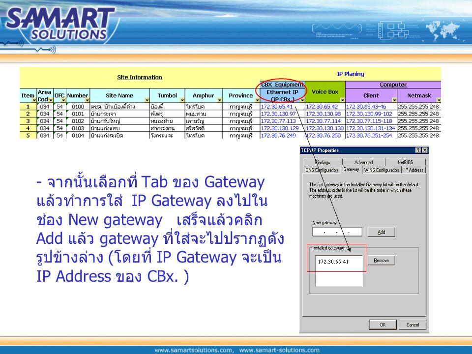 ที่แถบ IP Address ให้เลือก Specify an IP address แล้วทำการใส่ IP Address และ Subnet Mask ลงไป โดยดูจากตารางที่แถบ Client 172.30.65.43-46 คือ หมายเลข I