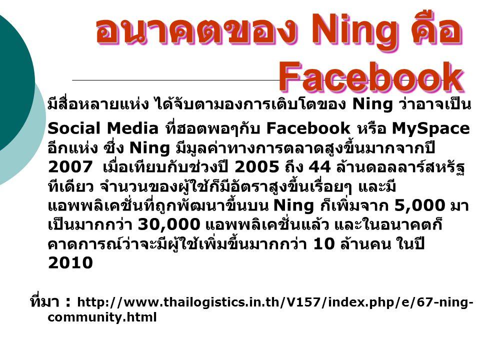 อนาคตของ Ning คือ Facebook มีสื่อหลายแห่ง ได้จับตามองการเติบโตของ Ning ว่าอาจเป็น Social Media ที่ฮอตพอๆกับ Facebook หรือ MySpace อีกแห่ง ซึ่ง Ning มี