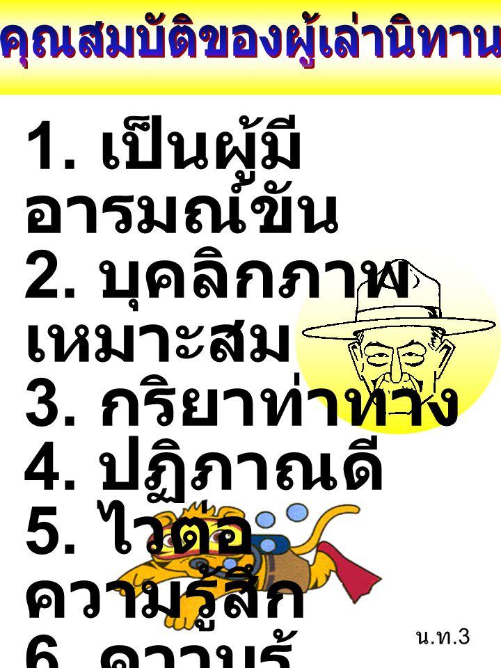 1. เป็นผู้มี อารมณ์ขัน 2. บุคลิกภาพ เหมาะสม 3. กริยาท่าทาง 4. ปฏิภาณดี 5. ไวต่อ ความรู้สึก 6. ความรู้ รอบตัว กว้างไกล น. ท.3
