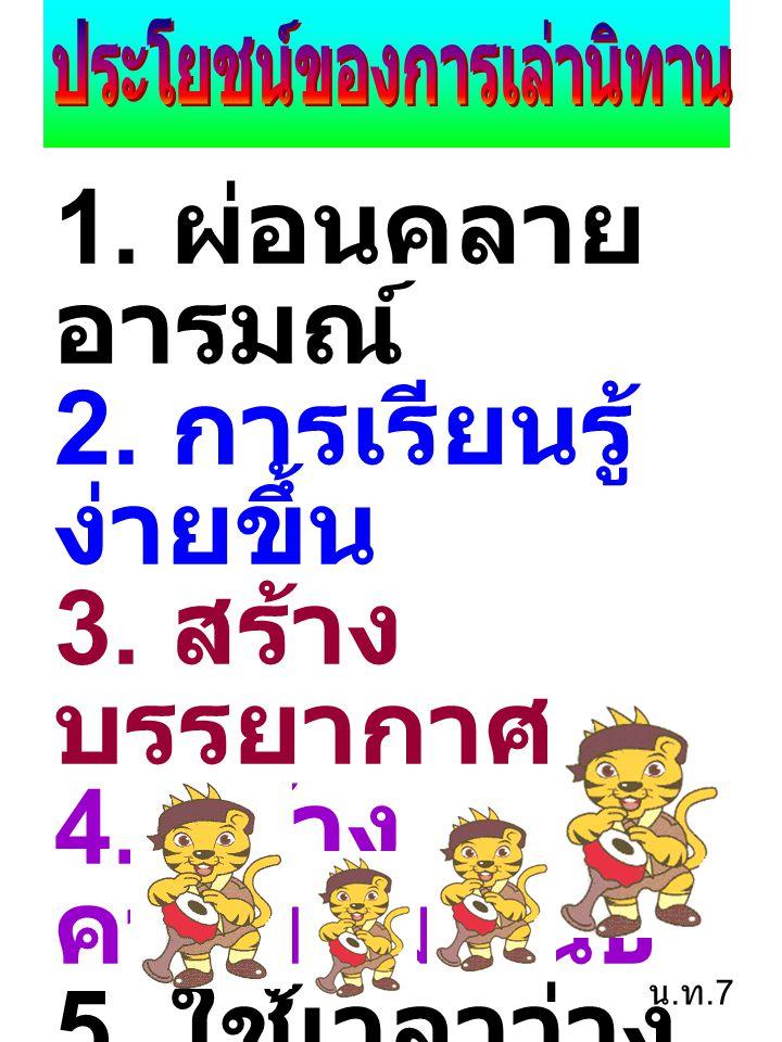 1. ผ่อนคลาย อารมณ์ 2. การเรียนรู้ ง่ายขึ้น 3. สร้าง บรรยากาศ 4. สร้าง ความสัมพันธ์ 5. ใช้เวลาว่าง ให้เหมาะสม 6. เป็น อุทาหรณ์ น. ท.7