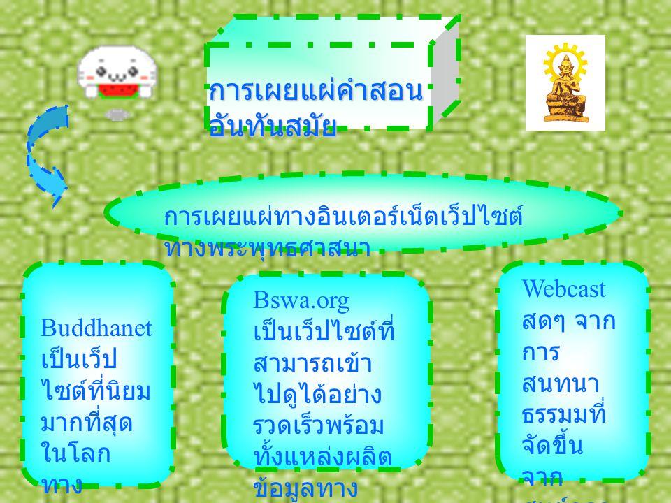 การเผยแผ่คำสอน อันทันสมัย การเผยแผ่ทางอินเตอร์เน็ตเว็ปไซต์ ทางพระพุทธศาสนา Buddhanet เป็นเว็ป ไซต์ที่นิยม มากที่สุด ในโลก ทาง ศาสนา Bswa.org เป็นเว็ปไซต์ที่ สามารถเข้า ไปดูได้อย่าง รวดเร็วพร้อม ทั้งแหล่งผลิต ข้อมูลทาง ธรรมมะอีก มากมาย Webcast สดๆ จาก การ สนทนา ธรรมมที่ จัดขึ้น จาก ศูนย์กลา งธรรมมะ