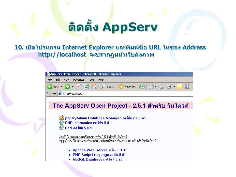 ติดตั้ง AppServ 10. เปิดโปรแกรม Internet Explorer และพิมพ์ชื่อ URL ในช่อง Address http://localhost จะปรากฏหน้าเว็บดังภาพ