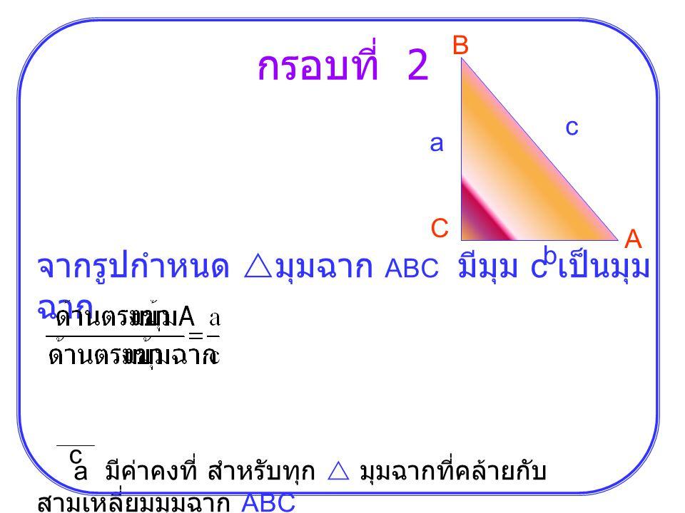 กรอบที่ 2 B C A b c a จากรูปกำหนด  มุมฉาก ABC มีมุม c เป็นมุม ฉาก a มีค่าคงที่ สำหรับทุก  มุมฉากที่คล้ายกับ สามเหลี่ยมมุมฉาก ABC c