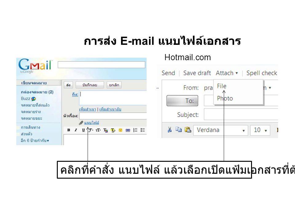 การส่ง E-mail แนบไฟล์เอกสาร คลิกที่คำสั่ง แนบไฟล์ แล้วเลือกเปิดแฟ้มเอกสารที่ต้องการส่ง Hotmail.com