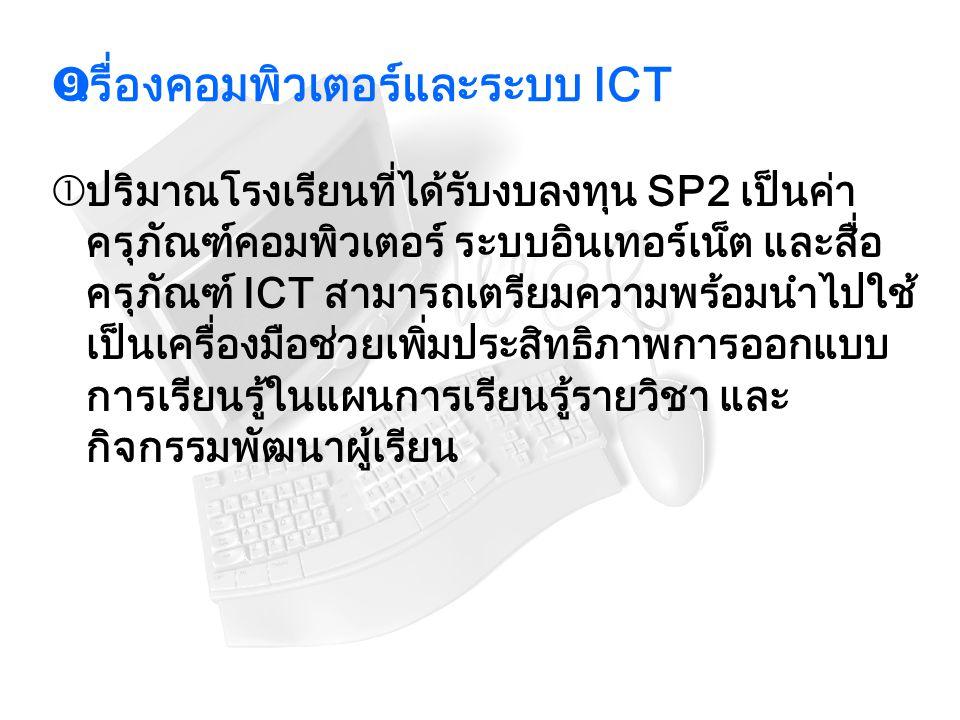  เรื่องคอมพิวเตอร์และระบบ ICT  ปริมาณโรงเรียนที่ได้รับงบลงทุน SP2 เป็นค่า ครุภัณฑ์คอมพิวเตอร์ ระบบอินเทอร์เน็ต และสื่อ ครุภัณฑ์ ICT สามารถเตรียมความ