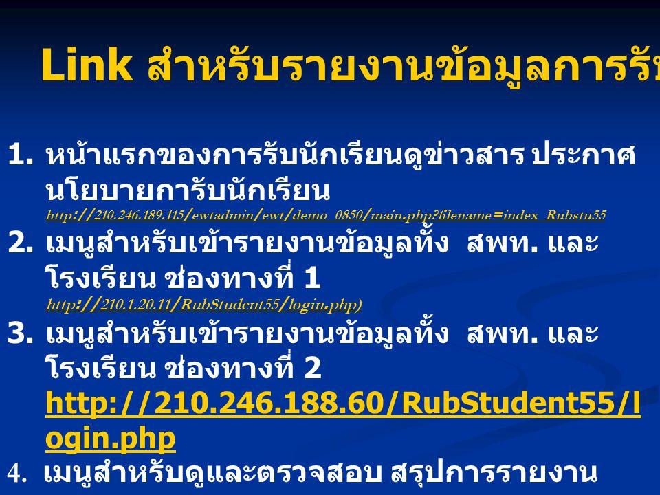 Link สำหรับรายงานข้อมูลการรับนักเรียน ปี 2555 1. หน้าแรกของการรับนักเรียนดูข่าวสาร ประกาศ นโยบายการับนักเรียน http://210.246.189.115/ewtadmin/ewt/demo