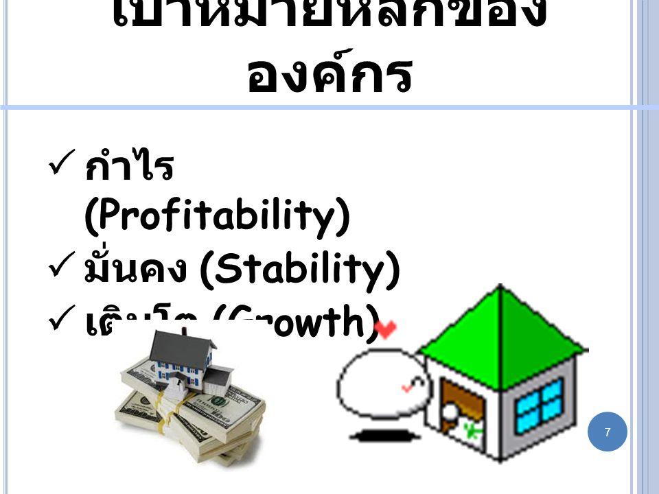 เป้าหมายหลักของ องค์กร  กำไร (Profitability)  มั่นคง (Stability)  เติบโต (Growth) 7 7