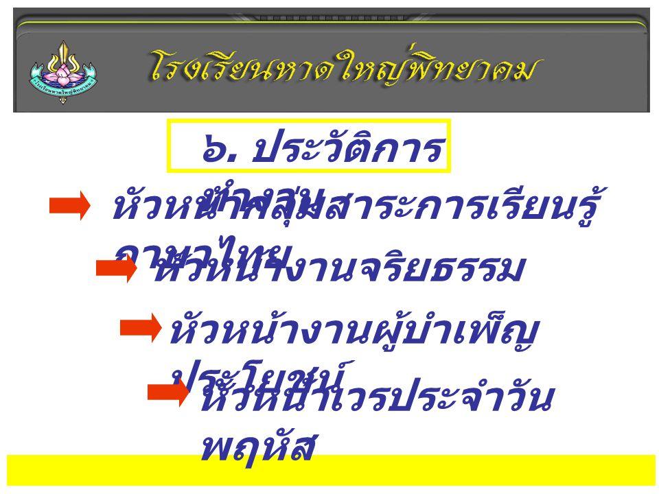 ๖. ประวัติการ ทำงาน หัวหน้ากลุ่มสาระการเรียนรู้ ภาษาไทย หัวหน้างานจริยธรรม หัวหน้างานผู้บำเพ็ญ ประโยชน์ หัวหน้าเวรประจำวัน พฤหัส