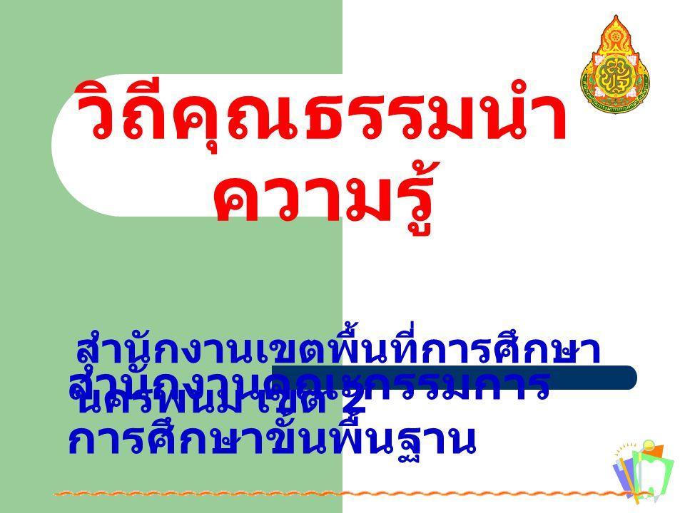 วิถีคุณธรรมนำ ความรู้ สำนักงานคณะกรรมการ การศึกษาขั้นพื้นฐาน สำนักงานเขตพื้นที่การศึกษา นครพนม เขต 2